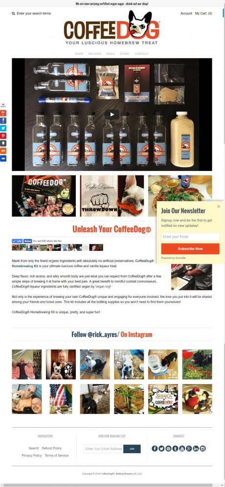 CoffeeDog Website Screenshot (Y-Unit.com)